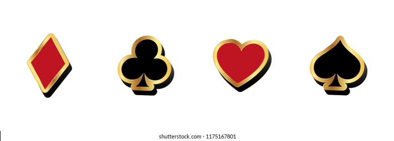 Casino poker card suits icons, 3d vector illustrations. Heart, spade, diamond and clover.