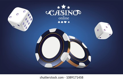 Casino poker chips and dice. Casino game 3D chips. Online casino banner. Blue realistic chip. Gambling concept, poker mobile app icon. dice falling in the air.