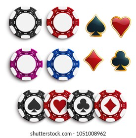 Casino poker chips or gambling tokens with playing cards suits. Vector isolated poker game chips with hearts, spades or diamonds and clubs suit for online casino poker slot machine or internet bets
