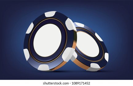 Casino poker chips. Casino game 3D chips. Online casino logo or banner. Blue realistic chip. Gambling concept, poker mobile app icon.