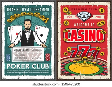 Casino poker club, gambling game jackpot win in Texas Hold them tournament. Vector croupier at royal casino with cash check, wheel of fortune roulette, lucky seven and jackpot game golden coins