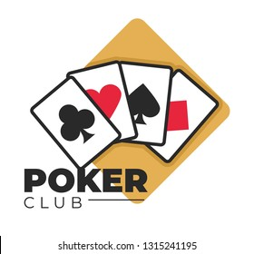 Casino poker club gambling games play cards isolated icon blackjack or roulette wheel and slot machines online service emblem or logo money stakes and betting clubs and hearts spades and diamonds