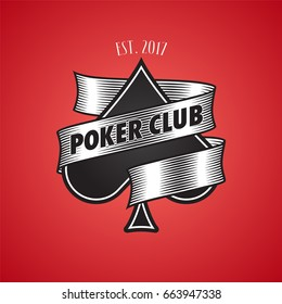 Casino, poker club vector logo, icon. Illustration with spade cards suit for gambling concept