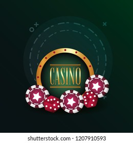casino poker gamble dices and chips poster
