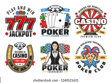 Casino poker gambling game icons. Vector symbols of poker ace cards, golden horseshoe, wheel of fortune, chips and diamond, dice or craps with lucky seven number, casino croupier and joker