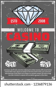 Casino poker gambling retro poster, jackpot money and diamond. Vector vintage advertisement design of diamond and dollars win cash in gamble game