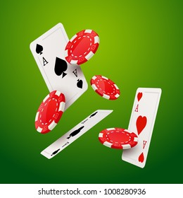 Casino poker game design template. Falling poker cards and chips casino background isolated.