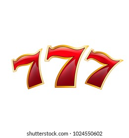 Casino poker jackpot lucky 7 seven numbers icon. Vector isolated symbol of luck numbers for casino online poker game, gambling slot machine or wheel of fortune internet gamble bet games design