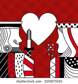 casino poker queen and king heart card game red checkered background