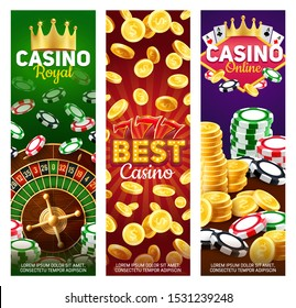 Casino poker and roulette gambling games vector banners with 3d playing cards, roulette wheel, chips and dice, money, gold coins and jackpot 777. Gamble sports, online casino and betting club design