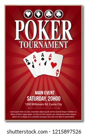 Casino Poker Tournament background red template design in vector with layer and text outlined no shadow on the eps version 10