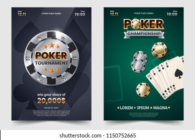 Casino poker tournament invatation design. Gold text with playing chip and cards. Poker party a4 flyer template. Applicable for promotion poster, banner. Vector illustration.