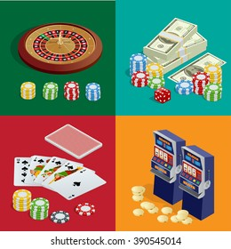 Casino popular gambling. Poker. Game of fortune. Icons set illustration. Excitement temptation win game. Roulette cards deck and bingo. Realistic slot cards dice and chips. Banner, flyer, card.