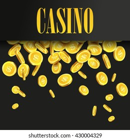 Casino Poster Background or Flyer with Falling Golden Money Coins. Vector Template.
