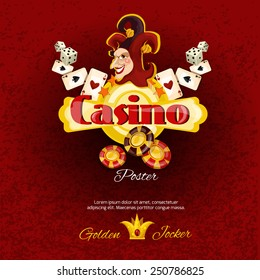 Casino poster with dice chips cards and smiling jocker face vector illustration