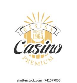Casino premium logo design, colorful vintage gambling badge or emblem since 1965 vector Illustration