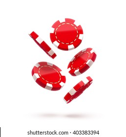 casino red chips isolated on white realistic vector 3d objects