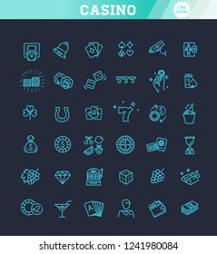 Casino related vector icon set. Well-crafted sign in thin line style