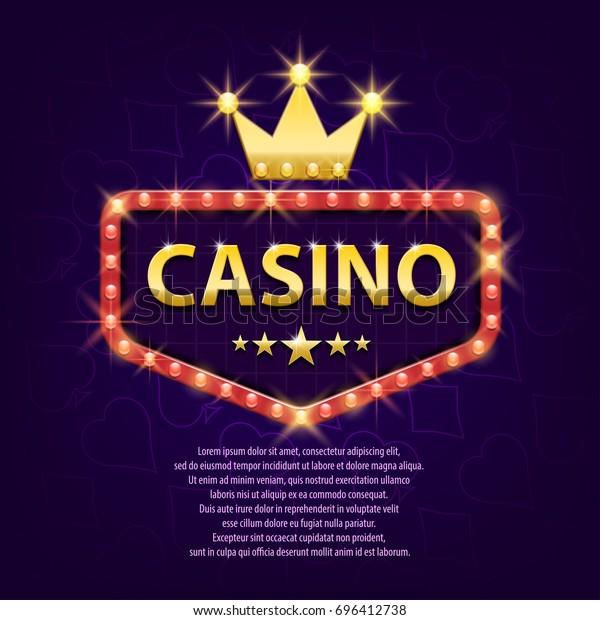 Panneau lumineux rétro casino avec couronne d'or pour le jeu, poster, prospectus, panneau d'affichage, sites web, club de jeu. Bannière, arrière-plan scintillant casino. Illustration vectorielle