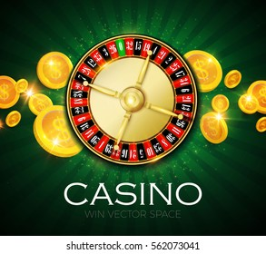 Casino Roulette Chance Background. Make Money Space. Gambling Games. Realistic Elements. Vector illustration.
