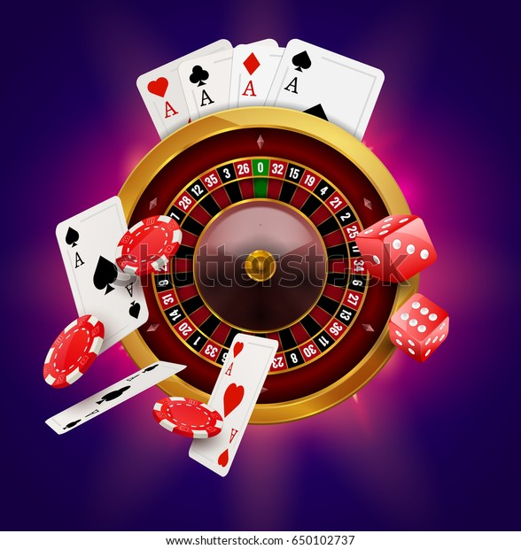 Casino Roulette Chips Coins Red Dice Stock Vector Royalty Free 650102737