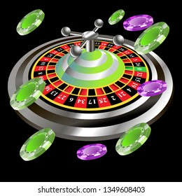 Casino roulette with chips gambling poster banner. Casino vegas fortune roulette wheel design flyer.