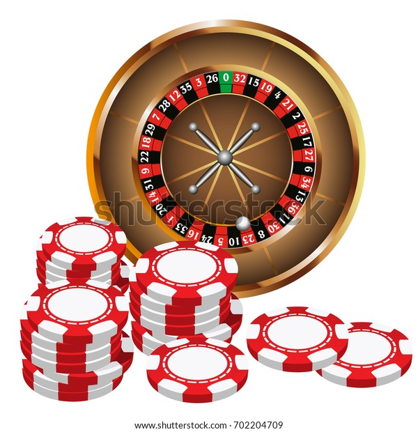 Casino Roulette and Chips Pattern. Vector illustration for print, textile, paper