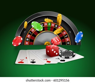 Casino roulette with chips, red dice realistic gambling poster banner.