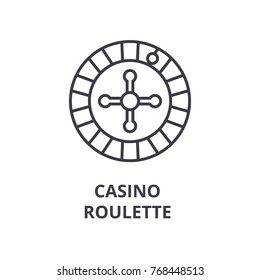 casino roulette line icon, outline sign, linear symbol, vector, flat illustration