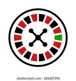 Casino roulette wheel flat vector icon for apps and websites
