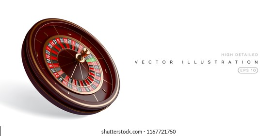 Casino roulette wheel isolated on white background. 3d realistic vector illustration. Online poker casino roulette gambling concept design