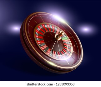 Casino roulette wheel isolated on blue background. 3d realistic vector illustration. Online poker casino roulette gambling concept design