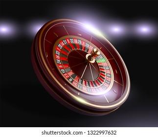 Casino roulette wheel isolated on blue background. 3d realistic vector illustration. Online poker casino roulette gambling concept design