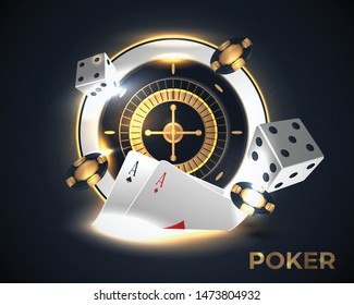 Casino roulette wheel isolated on blue background.