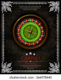 Casino roulette wheel. Vintage background with ornamental frame. Vector illustration. Vip.
