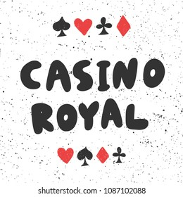 Casino royal. Sticker for social media content. Vector hand drawn illustration design. Bubble pop art comic style poster, t shirt print, post card, video blog cover