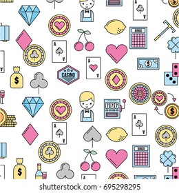 casino set icons pattern background