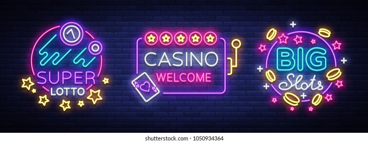 Casino set of logos in neon style. Design template. Neon sign collection, light banner, billboard, bright light advertising gambling, casino, poker, slot machines, bingo lotto. Vector illustration