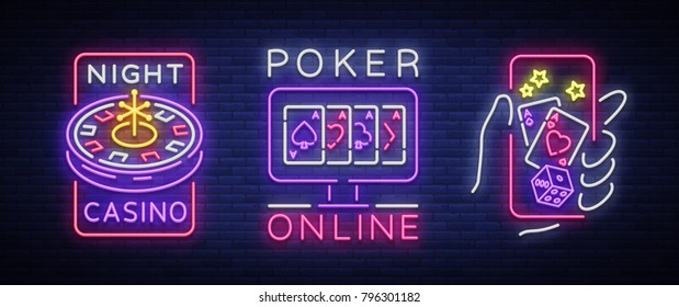 Casino is a set of neon signs. Logo collection in neon style, luminous banner, bright neon advertising online poker, gambling, casino for your projects. Play money online. Vector illustration