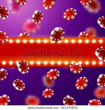 Casino Sign Background Falling Red Chips Stock Vector (Royalty Free