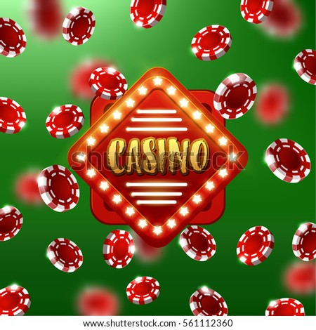 Casino Sign Background Poker Chips Falling Stock Vector (Royalty