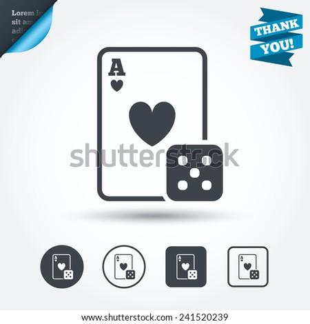 Casino Sign Icon Playing Card Dice Stock Vector Royalty Free