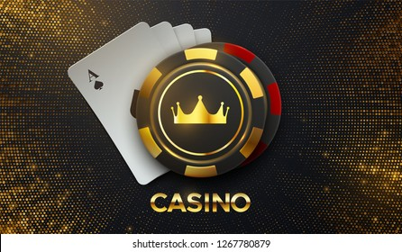 Casino sing. Vector illustration. Four playing cards and gambling chips with golden crown on black background with shimmering glitters. Casino banner concept.