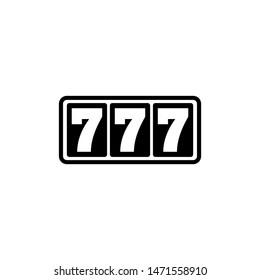 Casino Slot Machine, 777 Jackpot. Flat Vector Icon illustration. Simple black symbol on white background. Casino Slot Machine, 777 Jackpot sign design template for web and mobile UI element
