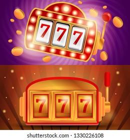 Casino slot machine banner set. Cartoon illustration of casino slot machine vector banner set for web design