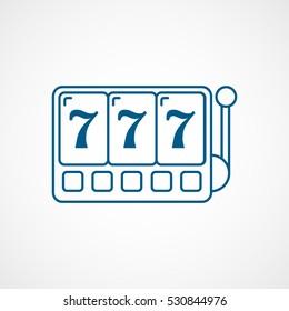 Casino Slot Machine Blue Line Icon On White Background