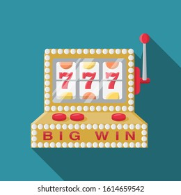 Casino slot machine flat design icon symbol vector logo