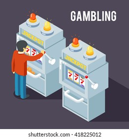 Casino slot machine in isometric style, 3d. Gambler play, game, jackpot. Vector illustration