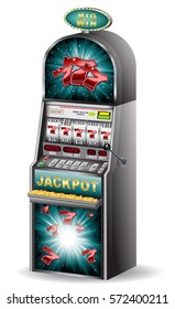 Casino slot machine jackpot with lucky seven symbol