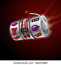 Casino slot machine in motion glowing fire.